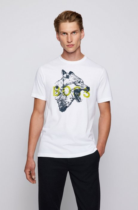 Regular-fit T-shirt in cotton with animal artwork, White