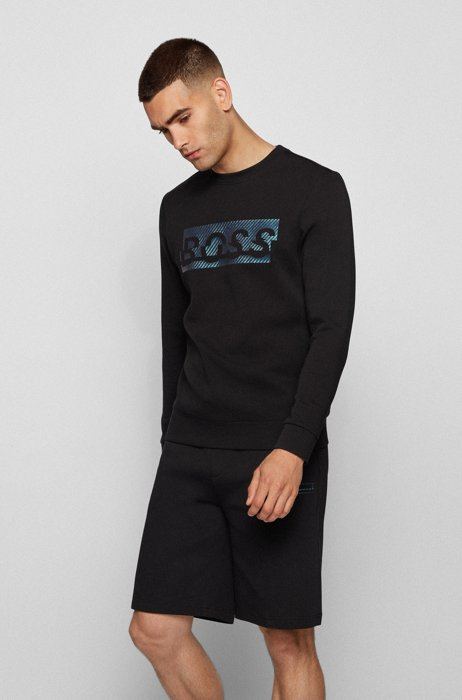 Slim-fit sweatshirt with carbon-effect printed logo, Black