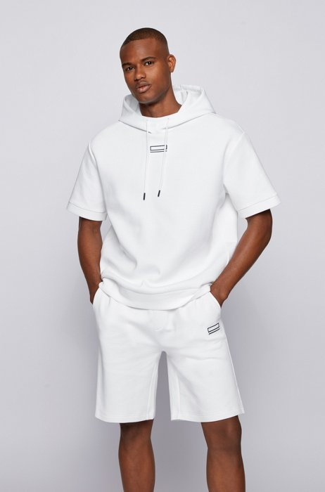 Short-sleeved hooded sweatshirt with carbon-effect logo detail, White
