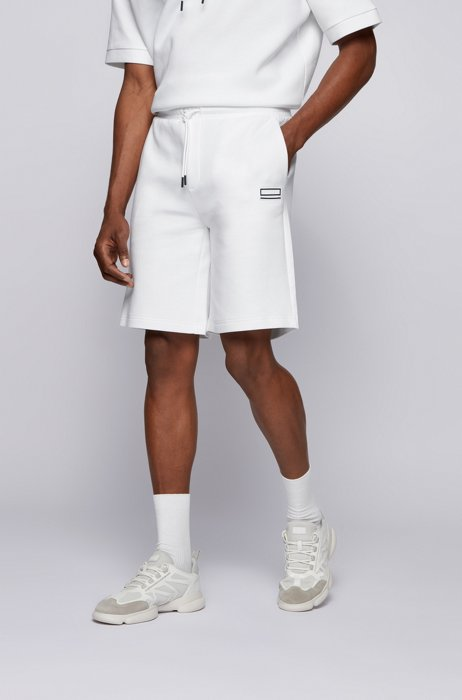 Relaxed-fit shorts with embroidered logo, White