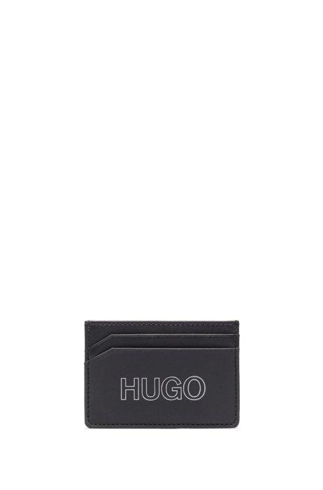 Leather card holder with outline logo, Black