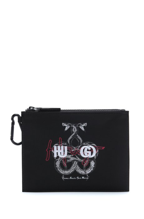 Zip-up pouch with collection artwork and logo, Black