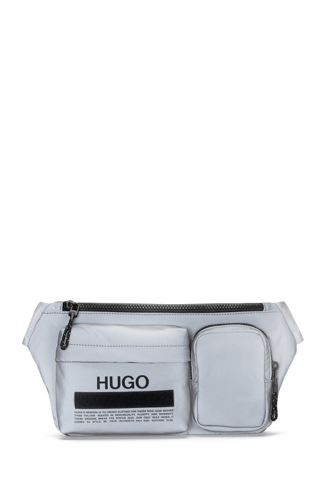 Manifesto-logo belt bag in soft nylon, Silver