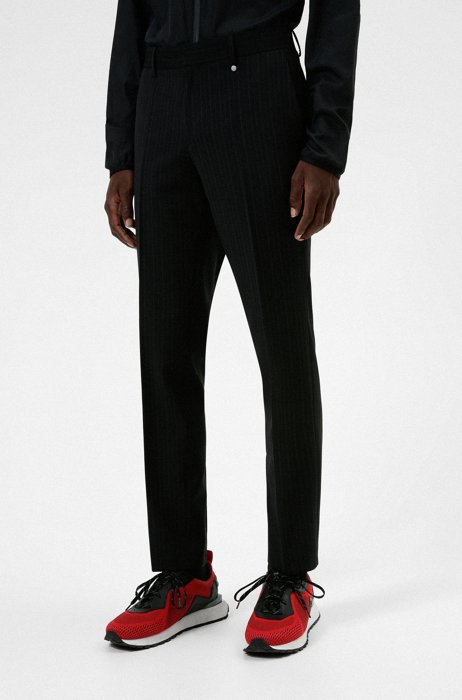 Slim-fit pants in a striped wool blend, Black