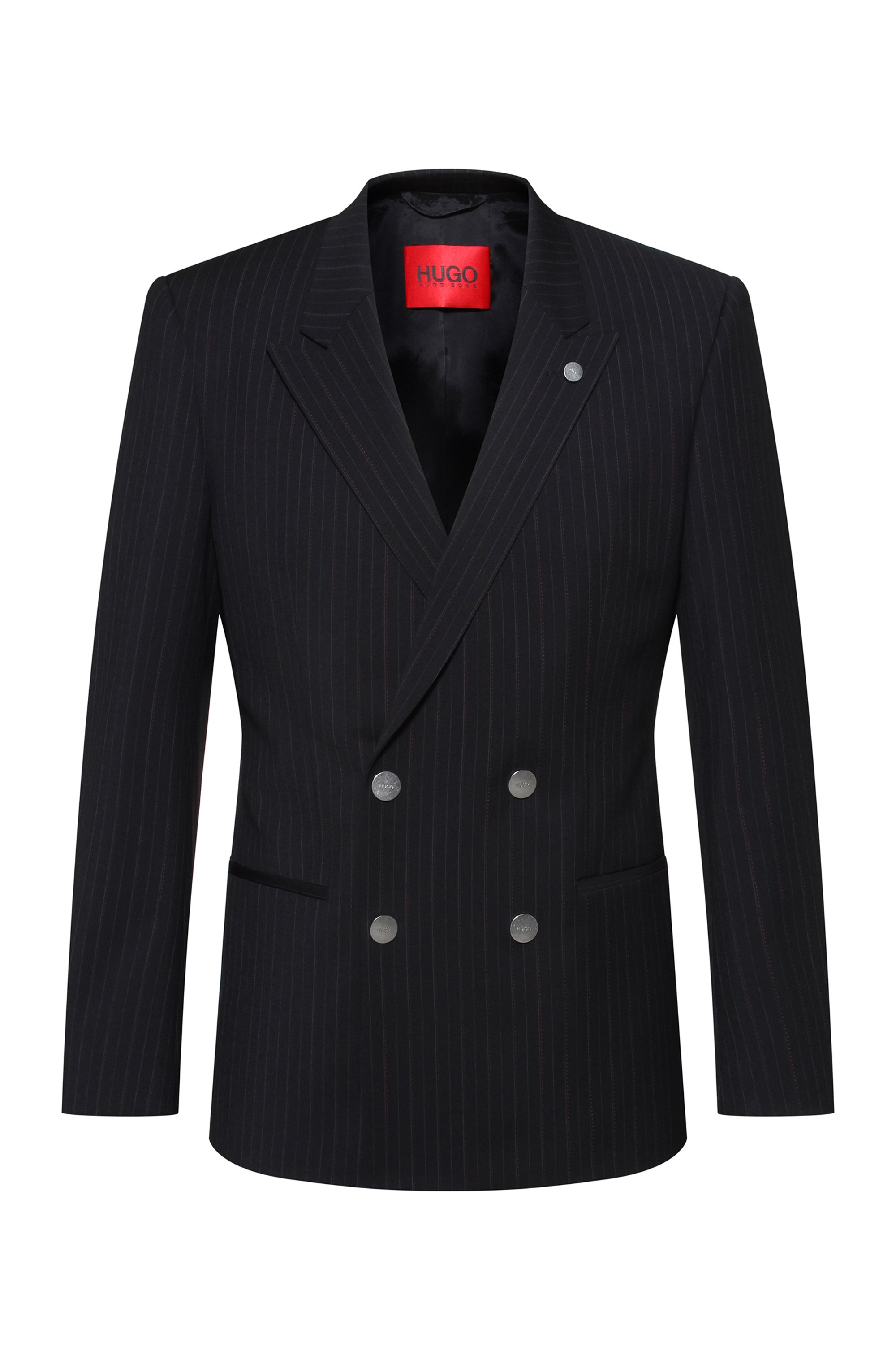 Double-breasted slim-fit jacket in performance-stretch cloth, Black
