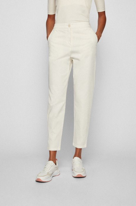 Pants in organic-cotton-blend twill, White