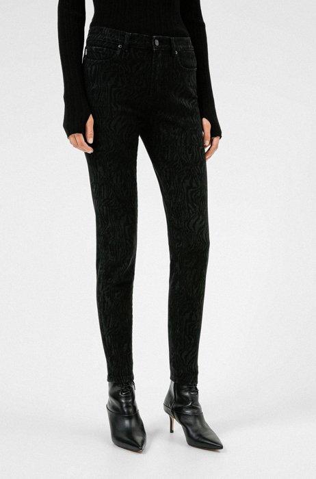 CHARLIE super-skinny-fit jeans in lasered black denim, Black