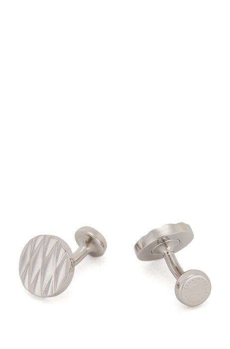 Round cufflinks in stainless steel with diamond pattern, Silver