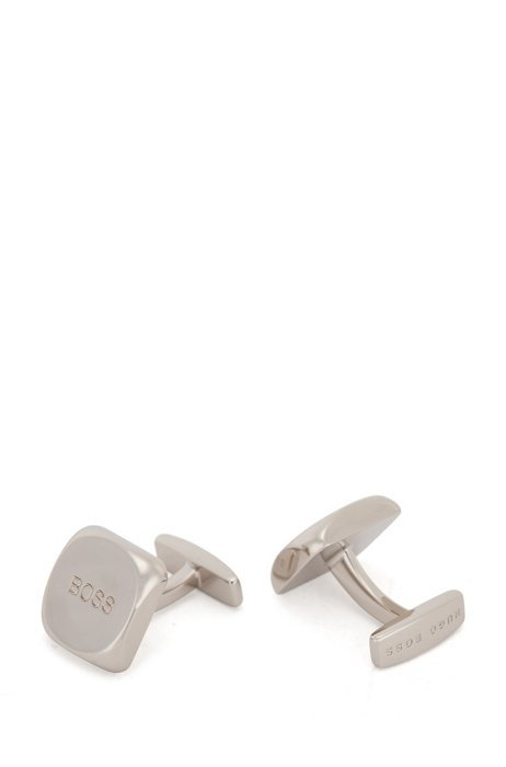 Square cufflinks in polished metal with etched logo, Silver