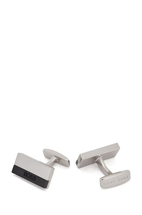 Rectangular cufflinks with etched logo, Black