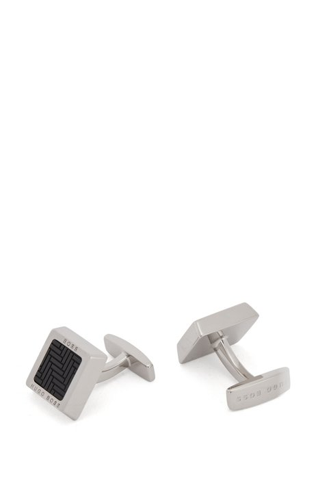 Square cufflinks with patterned enamel and etched logos, Black
