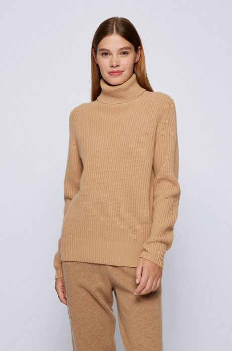 Ribbed rollneck sweater in virgin wool and cashmere, Light Brown