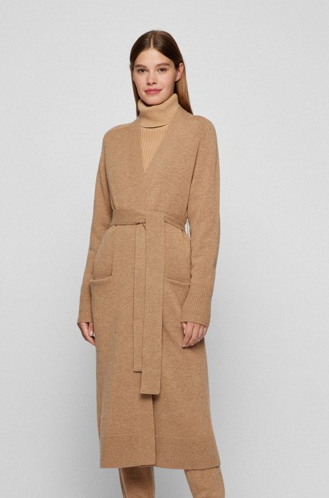Relaxed-fit knitted coat in virgin wool and cashmere, Light Brown