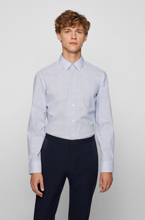 Slim-fit shirt in printed stretch cotton, Blue