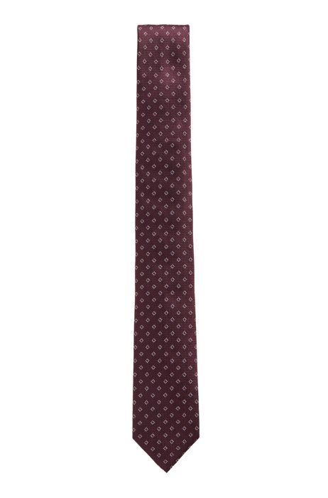 Patterned silk-jacquard tie made in Italy, Red