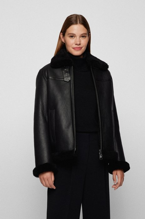 Relaxed-fit jacket in nappa leather with shearling lining, Black