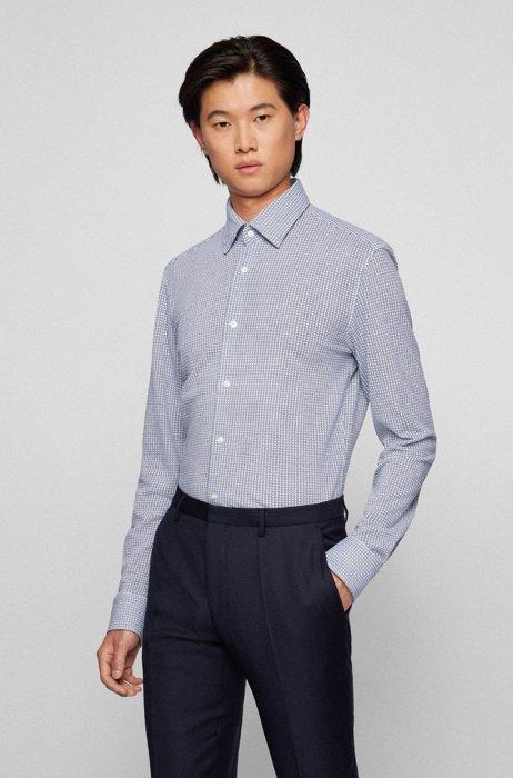 Slim-fit shirt in geometric-print cotton jersey, White