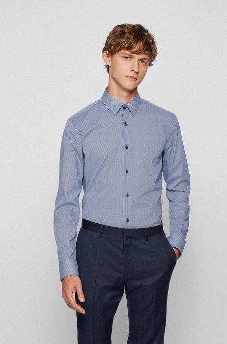 Slim-fit shirt in patterned Italian stretch cotton, Dark Blue