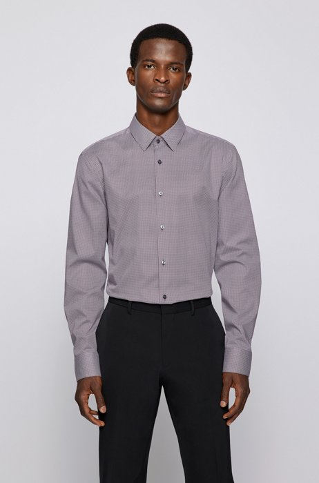 Slim-fit shirt in patterned Italian stretch cotton, Purple