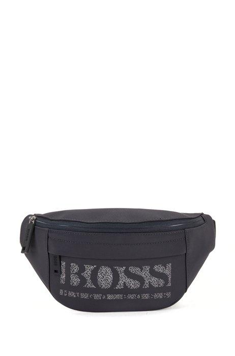 Recycled-nylon belt bag with pixel logo, Dark Blue