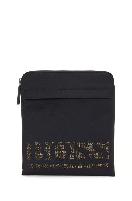 Structured-nylon envelope bag with pixel logo, Black