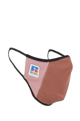 Face mask in stretch interlock fabric with exclusive logo, Light Brown