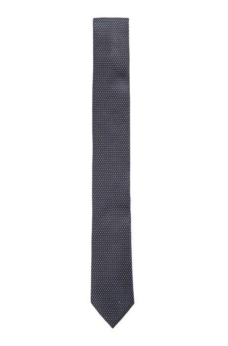 Silk-jacquard tie with micro pattern, Dark Blue