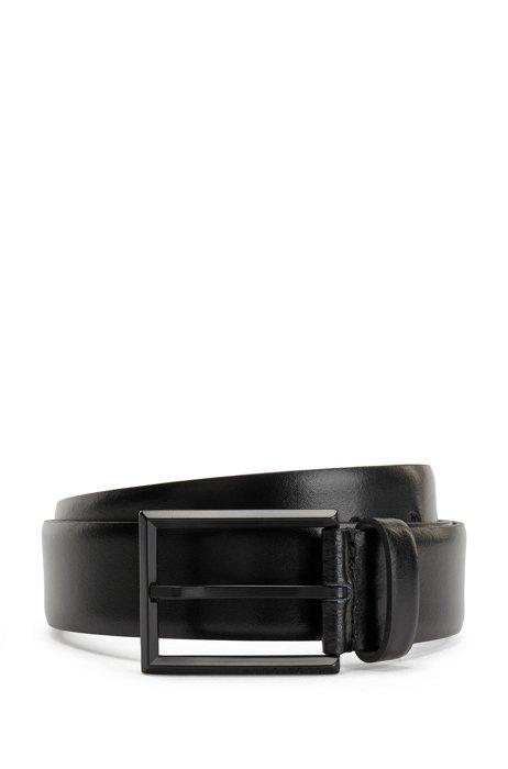 Italian-leather belt with matte-black buckle, Black