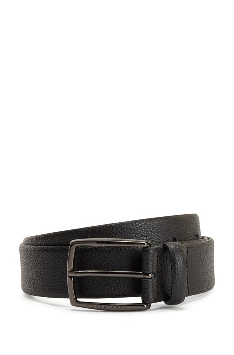 Grained-leather belt with polished gunmetal buckle, Black
