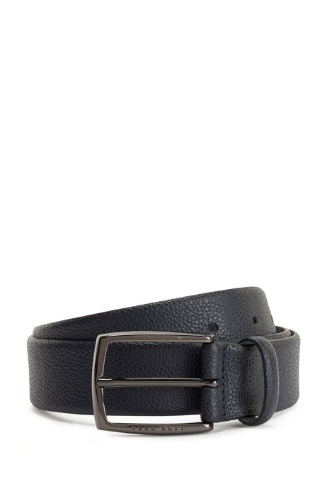 Grained-leather belt with polished gunmetal buckle, Dark Blue