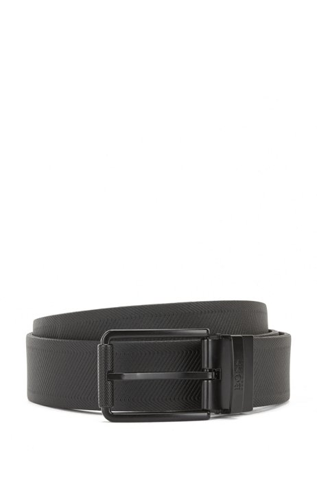 Reversible belt in coated leather with branded keeper, Black