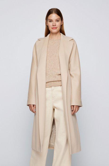Oversized-fit coat in combed Italian wool, Light Beige