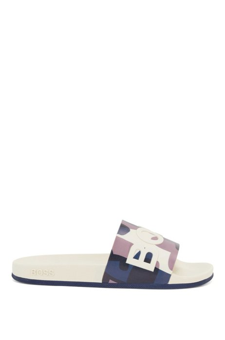 Italian-made slides with camouflage print and logo, Light Beige