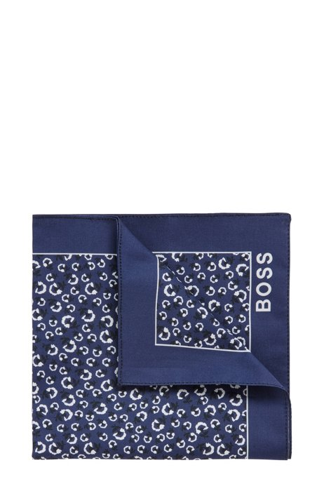 Silk pocket square with digital print, Dark Blue