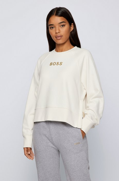 Oversized-fit sweatshirt with gold-effect artwork, White