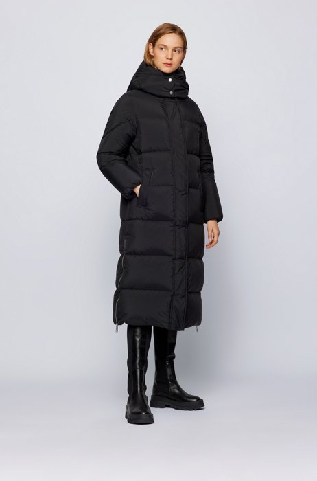 Relaxed-fit parka in recycled fabric with detachable hood, Black