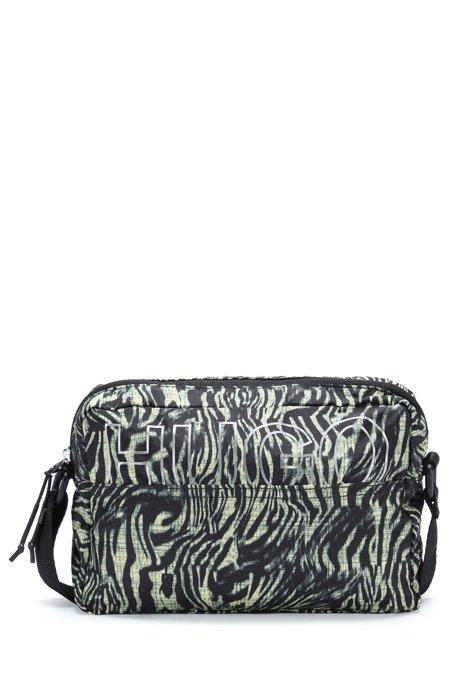 Recycled-nylon crossbody bag with zebra print, Patterned
