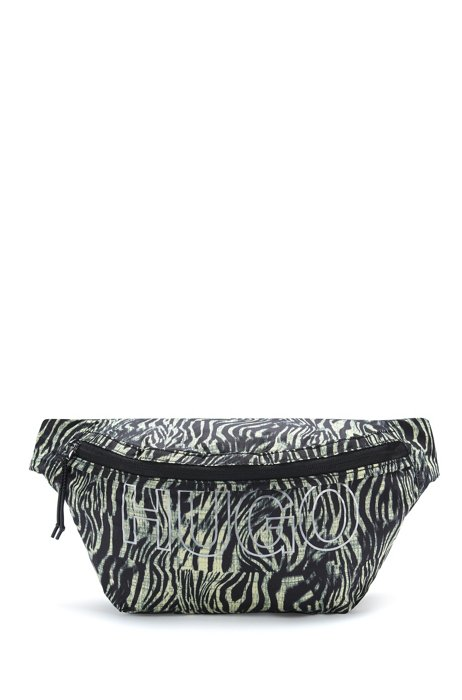 Zebra-print belt bag in recycled nylon, Patterned
