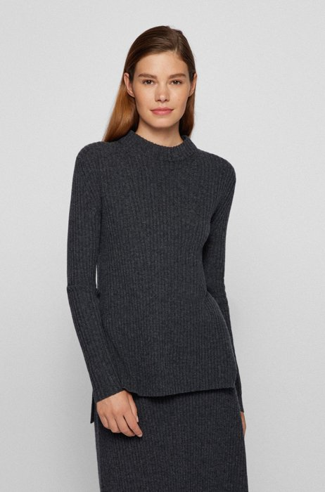 High-neck sweater in virgin wool and cashmere, Grey