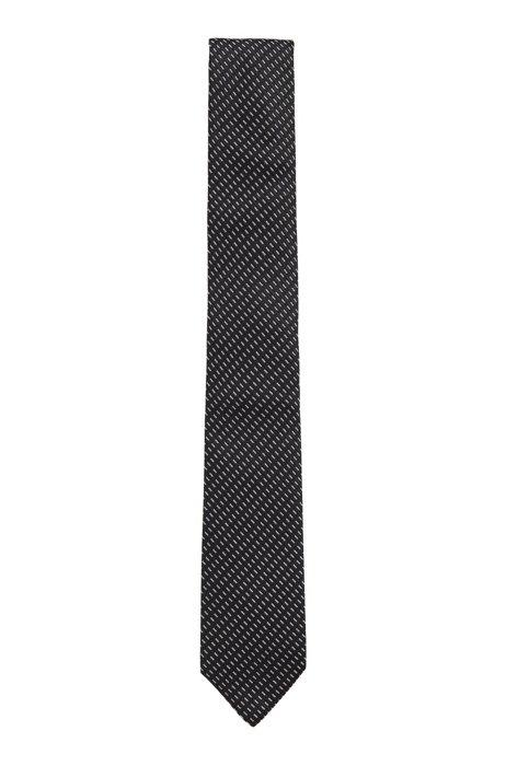 Patterned Italian-made tie in silk jacquard, Dark Blue