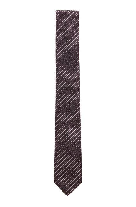Patterned Italian-made tie in silk jacquard, Purple