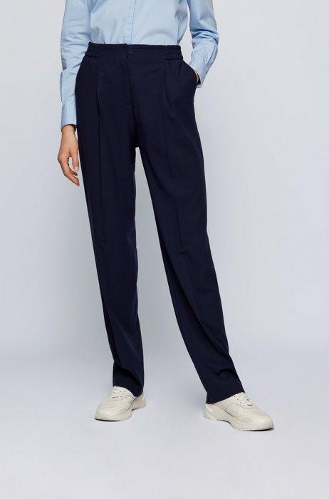 Regular-fit pants in a wool blend, Light Blue
