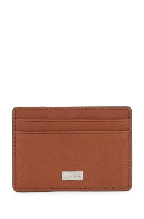 Money-clip card holder in Italian leather, Light Brown