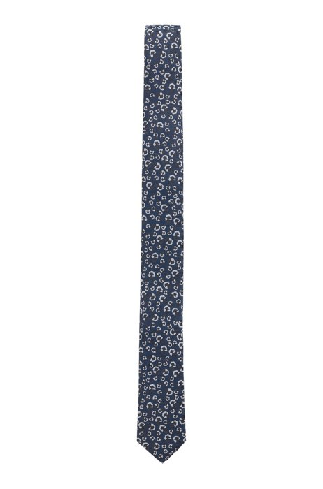 Floral-patterned tie in crease-resistant jacquard fabric, Dark Blue