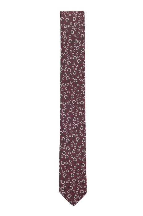 Floral-patterned tie in crease-resistant jacquard fabric, Red