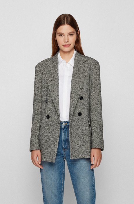 Double-breasted relaxed-fit jacket with herringbone weave, Patterned