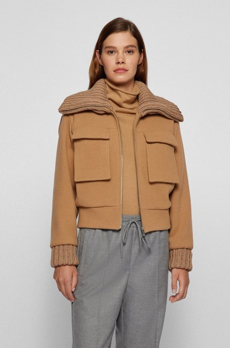 Relaxed-fit wool-blend aviator jacket with knitted trims, Light Brown