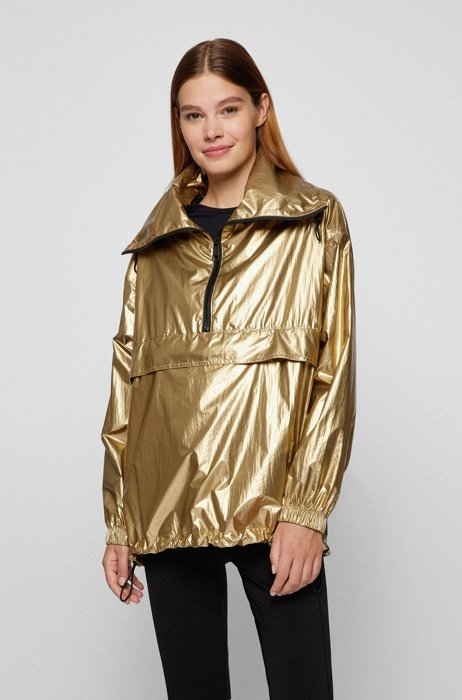 Relaxed-fit windbreaker jacket in metallic fabric, Dark Yellow