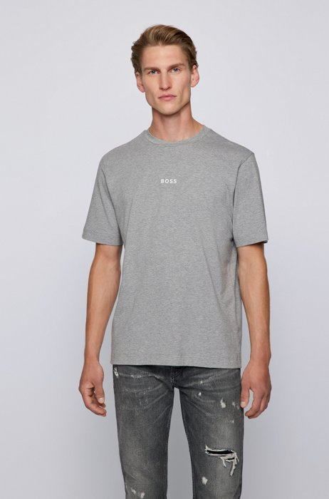 Relaxed-fit T-shirt in stretch cotton with logo print, Light Grey