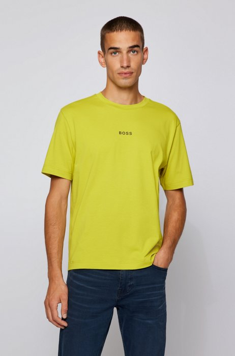Relaxed-fit T-shirt in stretch cotton with logo print, Green
